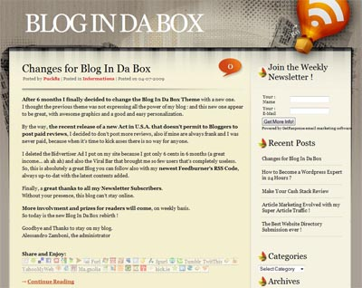 New Design for Blog In Da Box !